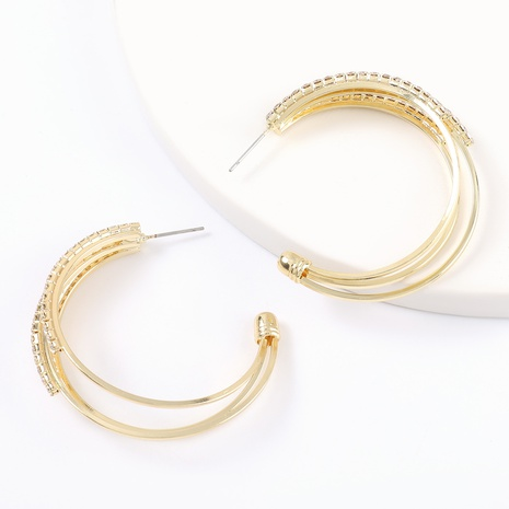 Korean multi-layer C-shaped alloy diamond-studded earrings NHJE324961's discount tags