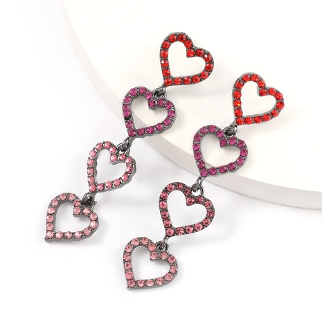Korean alloy acrylic diamond multi-layer heart-shaped earrings  NHJE324966's discount tags