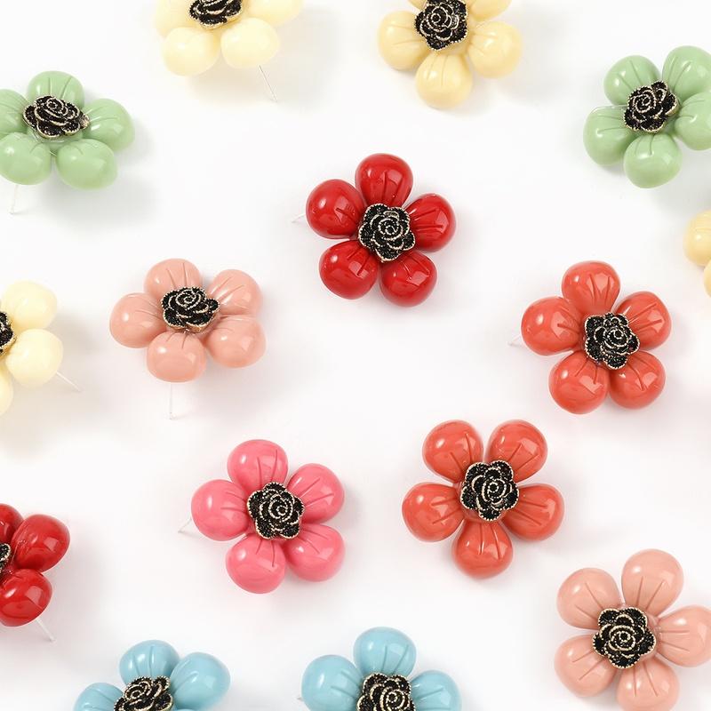 Korea cute alloy resin flower earrings NHJE324968