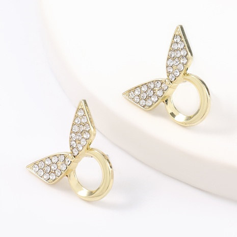 Korean alloy diamond-studded bow earrings NHJE324969's discount tags