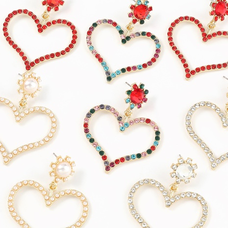 Fashion diamond-studded heart-shaped alloy earrings NHJE324970's discount tags
