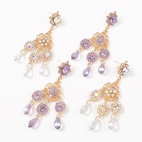 fashion diamond-studded flower tassel alloy earrings NHJE324973's discount tags