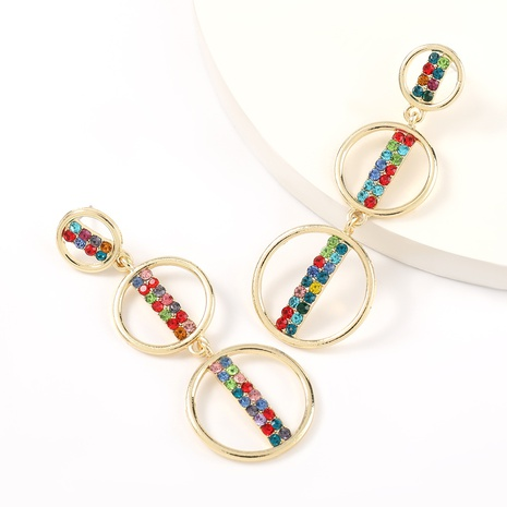 Korean acrylic diamond multi-layer round alloy earrings NHJE324971's discount tags
