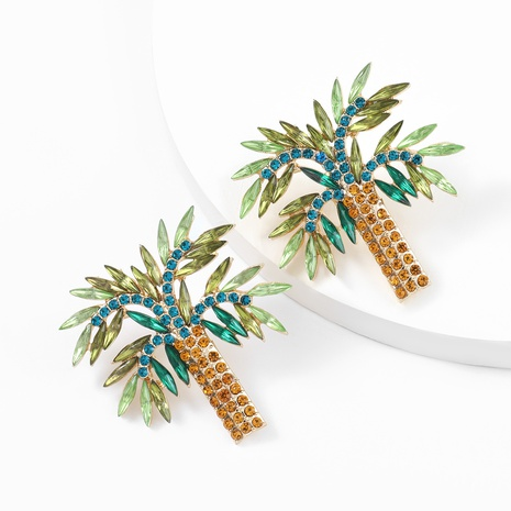 Fashion alloy diamond rhinestone coconut tree earrings NHJE324977's discount tags