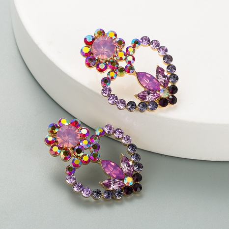 hollow heart-shaped flower alloy diamond earrings NHLN324981's discount tags