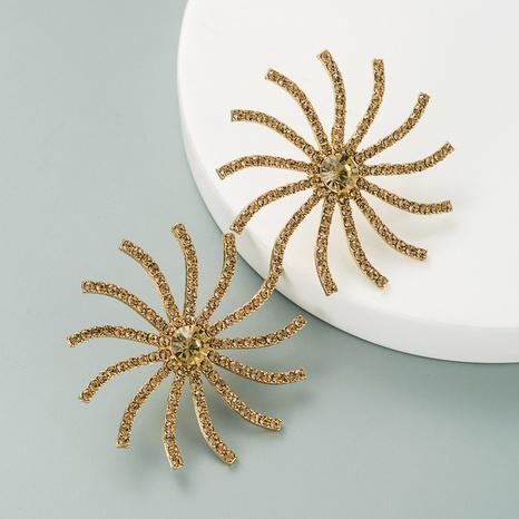 fashion sun flower alloy full diamond earrings NHLN324983's discount tags