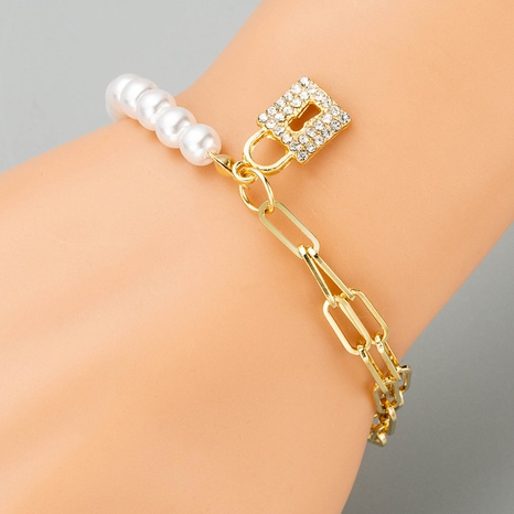Korean simple alloy inlaid pearls lock multi-layer bracelet NHLN324985's discount tags