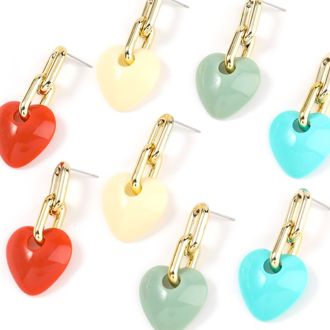 bohemian heart-shaped resin geometric earrings NHJE325046's discount tags