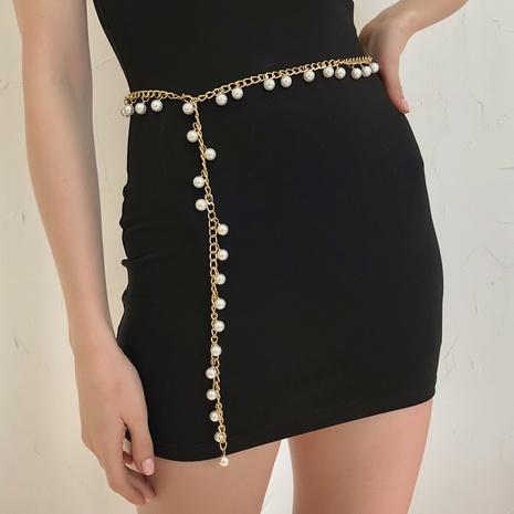 punk retro metal imitation pearl waist chain NHMD325062's discount tags