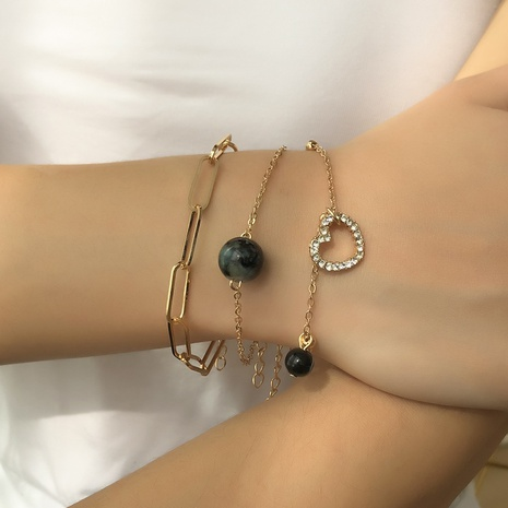 fashion resin round bead heart-shaped bracelet three-piece set NHMD325068's discount tags