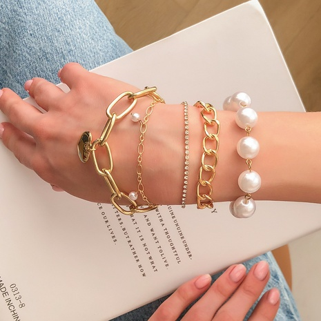 fashion imitation pearl heart-shaped bracelet set NHMD325069's discount tags