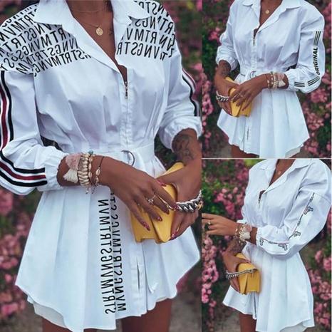 camisa plisada con cintura estampada a la moda NHKO325718's discount tags