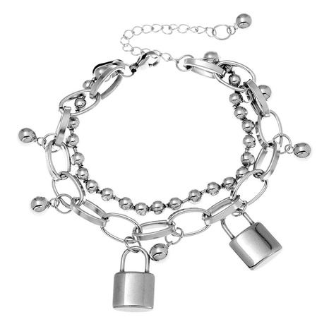 Korean fashion simple love lock pendant double bracelet NHSC324679's discount tags