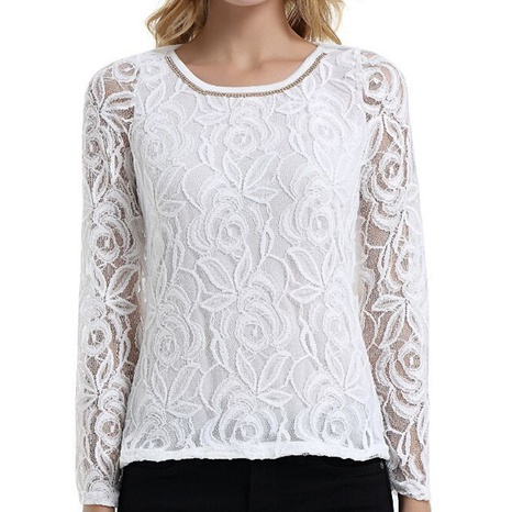 new fashion long-sleeved round neck lace shirt NHIS325693's discount tags