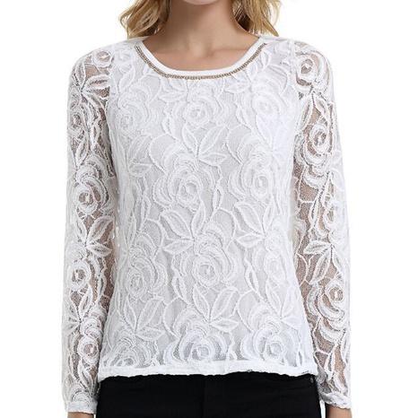 camisa de encaje de cuello redondo de manga larga de nueva moda NHIS325693's discount tags