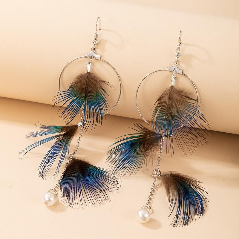 boho style peacock feather tassel earrings NHGY325664