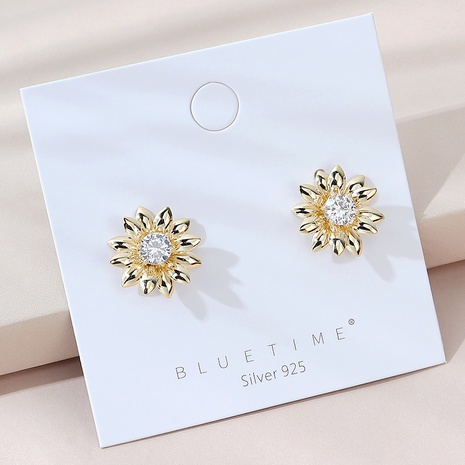fashion popular sunflower S925 silver needle earrings  NHPS325568's discount tags