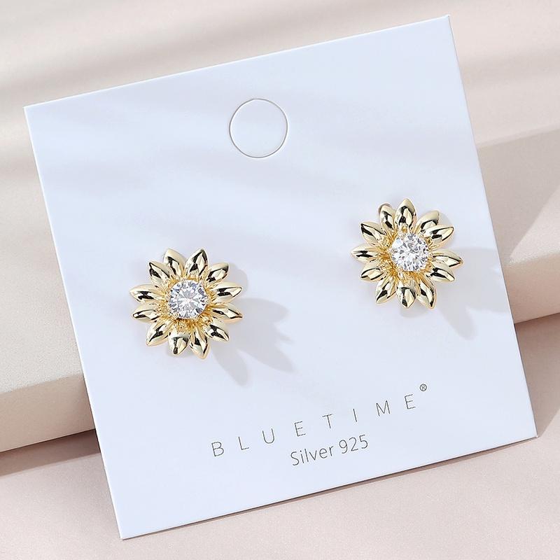 fashion popular sunflower S925 silver needle earrings  NHPS325568