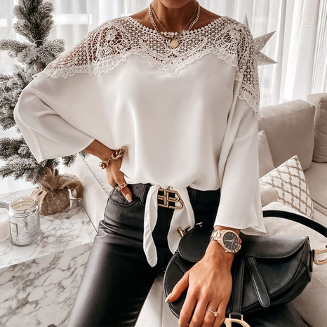 New fashion lace solid color shirt NHUO325623's discount tags