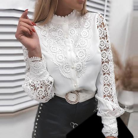 nueva camisa de rebeca con cuello en V de encaje de color sólido de moda NHJG325614's discount tags