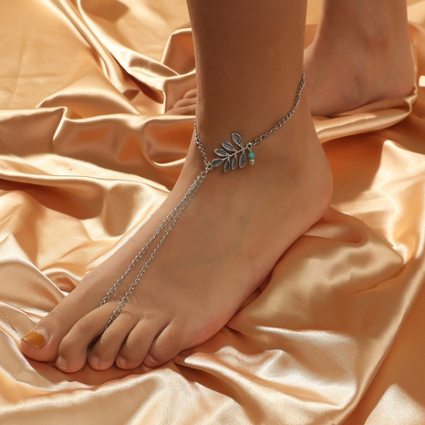 Bohemian fashion retro leaf turquoise anklet NHKQ318641's discount tags