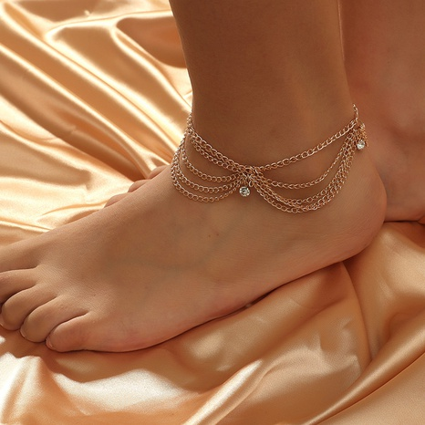 Korean simple multi-layer diamond anklet NHKQ318651's discount tags