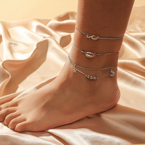 retro shell starfish 3-piece anklet  NHKQ318654's discount tags