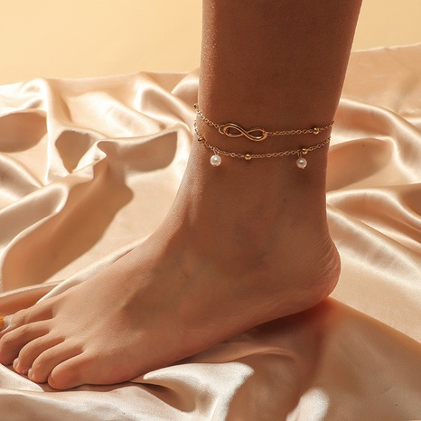 fashion pearl multi-layer anklet NHKQ318657's discount tags