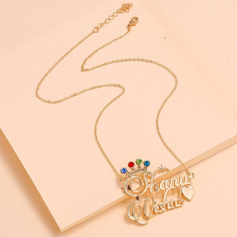 Fashion Alloy Crown Diamond Letter Necklace NHKQ318667's discount tags