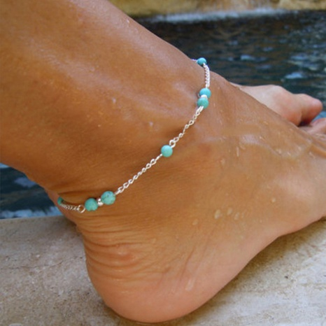 retro creative blue turquoise anklet NHKQ318676's discount tags