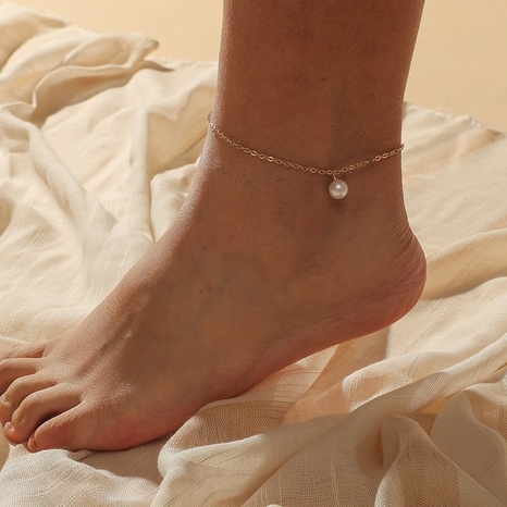 Simple metal small pearl anklet NHKQ318746's discount tags