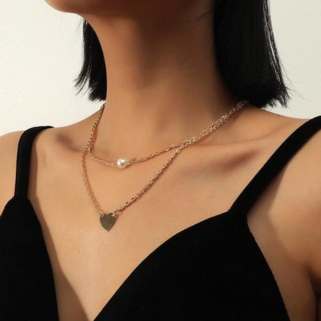 Collier coeur de perles multicouches en alliage de mode NHKQ318763's discount tags