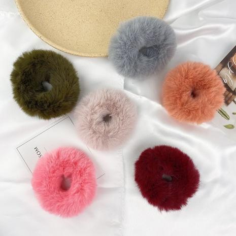 New fashion plush simple candy color imitation rabbit fur hair ring set NHCU318788's discount tags