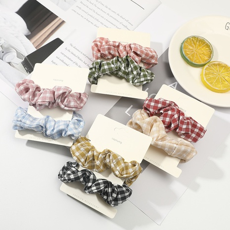New fashion plaid simple hair ring set  NHCU318795's discount tags