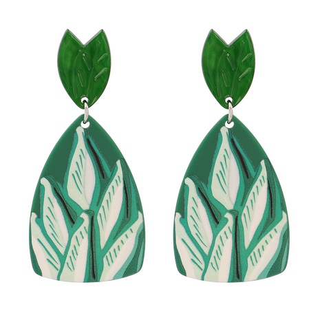 Acrylic Green Leaf Pendant Earrings NHJJ318799's discount tags