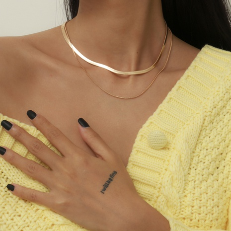 simple retro double-layer necklace NHXR318828's discount tags