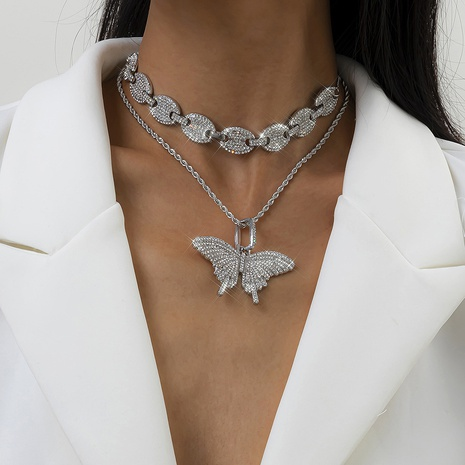 retro full diamond butterfly necklace NHXR318836's discount tags