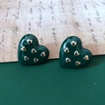 NHOM1469476-Dark-green-heart-shaped-stud-earrings-2.5cm