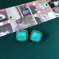 NHOM1469480-Green-Square-Gold-Edge-Silver-Pin-Stud-Earrings-