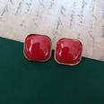 NHOM1469444-Square-gold-rim-silver-pin-earrings-2.1cm