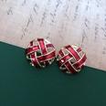 NHOM1469446-Fuchsia-woven-silver-needle-stud-earrings-2.5cm