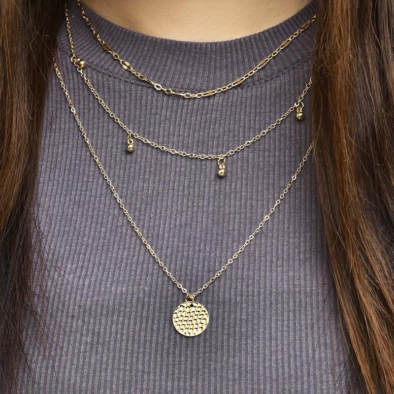 new fashion multilayer disc pendant necklace set  NHAJ319557