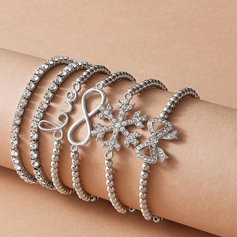 fashion Snowflake Bowknot Knotted Bracelet set NHAJ319554's discount tags