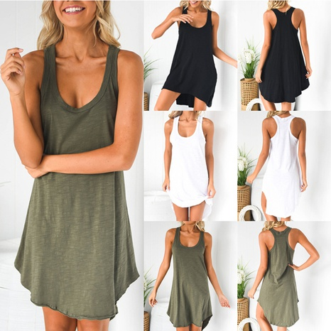 solid color sleeveless simple short dress NHUO319078's discount tags