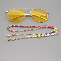 Fashion soft pottery IAMSMILING letter anti-skid glasses chain NHGW318869