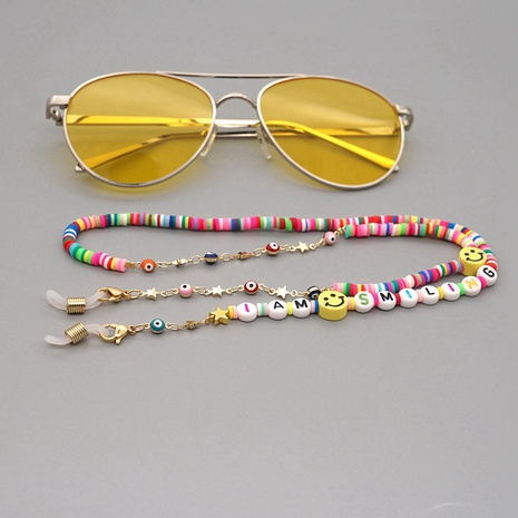 Fashion soft pottery IAMSMILING letter anti-skid glasses chain NHGW318869's discount tags