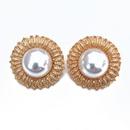Matte golden white pearl earrings NHOM318903