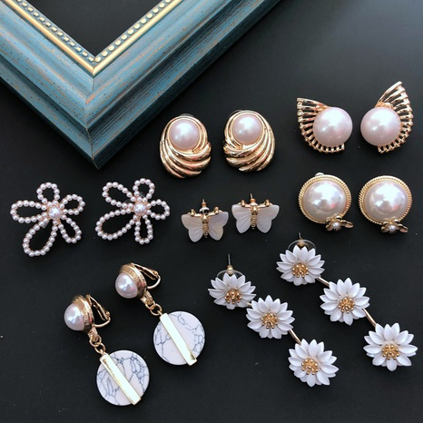 White Pearl Retro Flower Earrings NHOM318905's discount tags