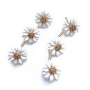 White Pearl Retro Flower Earrings NHOM318905