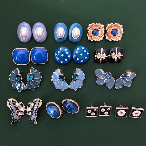 Blaue ovale silberne Nadel-Ohrstecker NHOM318909's discount tags